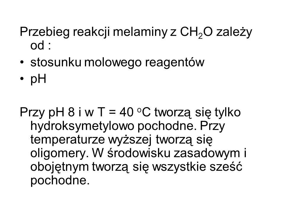 Przebieg reakcji melaminy z CH2O zależy od :