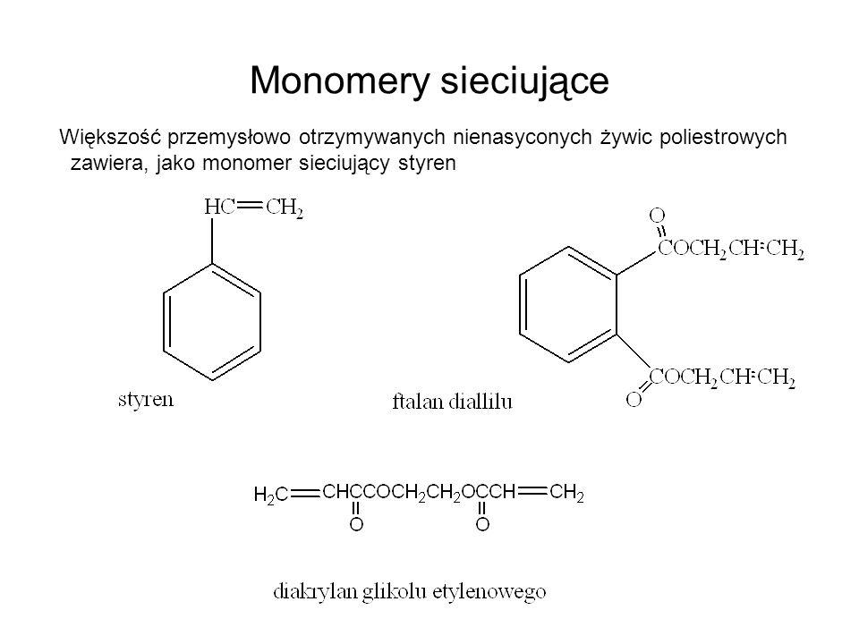 Monomery sieciujące Większość przemysłowo otrzymywanych nienasyconych żywic poliestrowych.