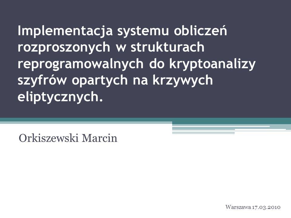 Implementacja systemu obliczeń rozproszonych w strukturach reprogramowalnych do kryptoanalizy szyfrów opartych na krzywych eliptycznych.