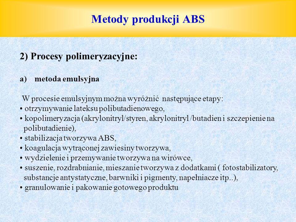 Metody produkcji ABS 2) Procesy polimeryzacyjne: metoda emulsyjna