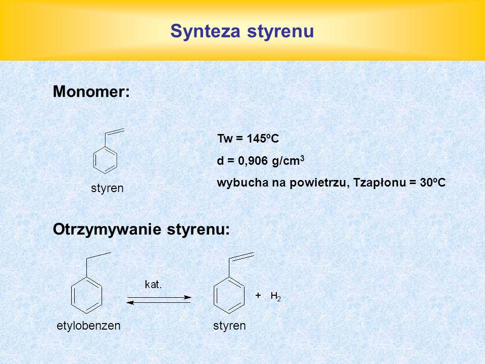 Synteza styrenu Monomer: Otrzymywanie styrenu: Tw = 145ºC