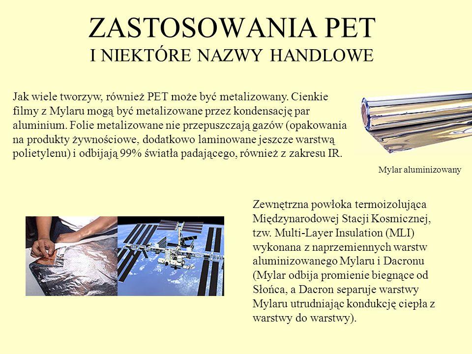 ZASTOSOWANIA PET I NIEKTÓRE NAZWY HANDLOWE