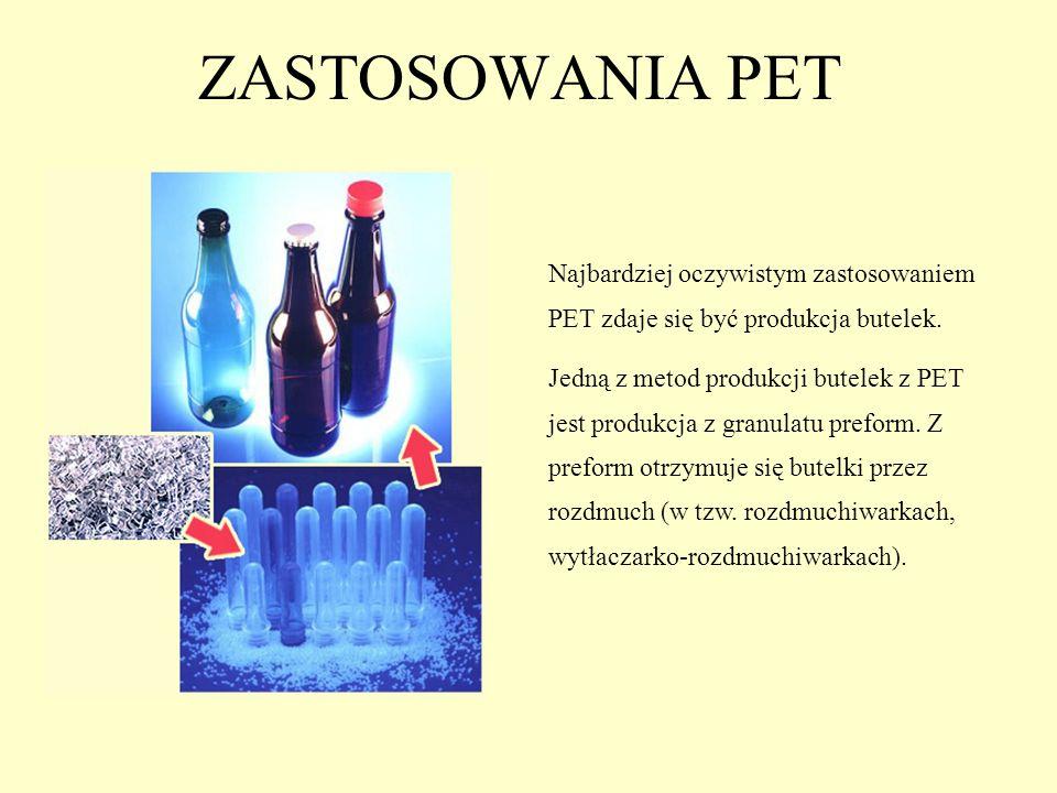 ZASTOSOWANIA PET Najbardziej oczywistym zastosowaniem PET zdaje się być produkcja butelek.