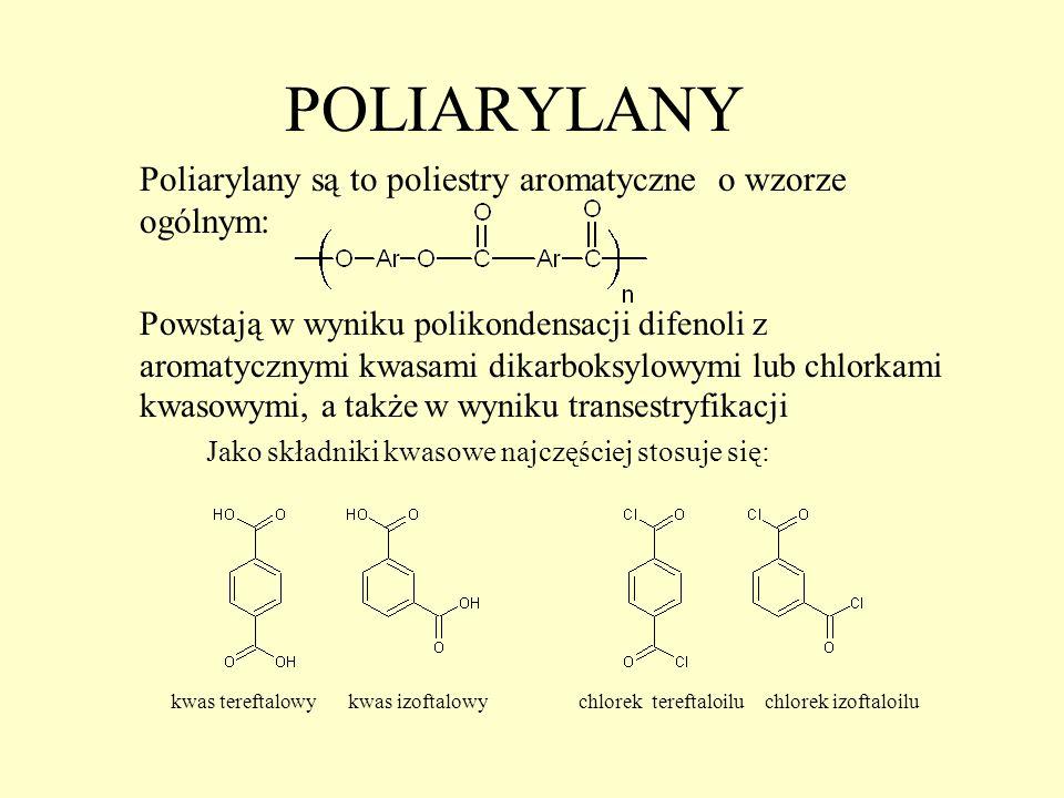 POLIARYLANY Poliarylany są to poliestry aromatyczne o wzorze ogólnym: