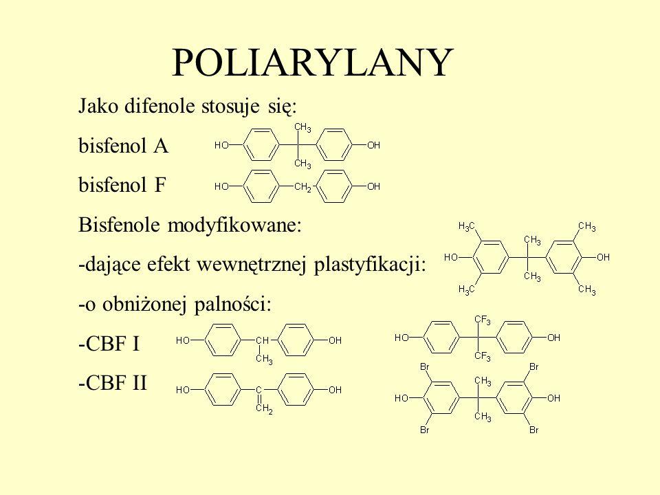 POLIARYLANY Jako difenole stosuje się: bisfenol A bisfenol F