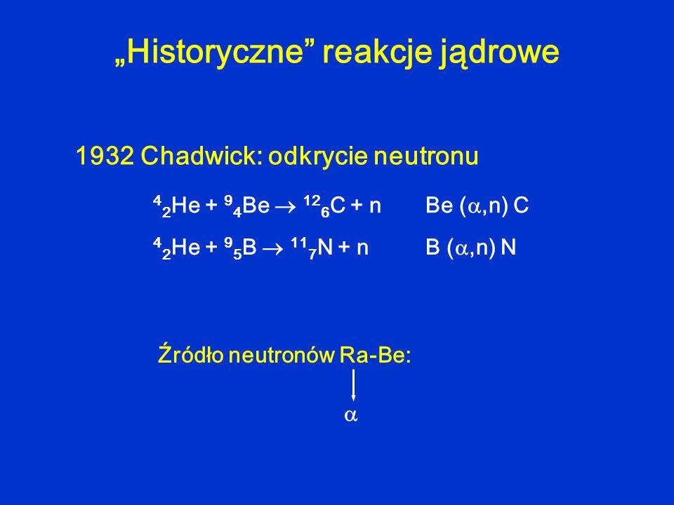 """""""Historyczne reakcje jądrowe"""