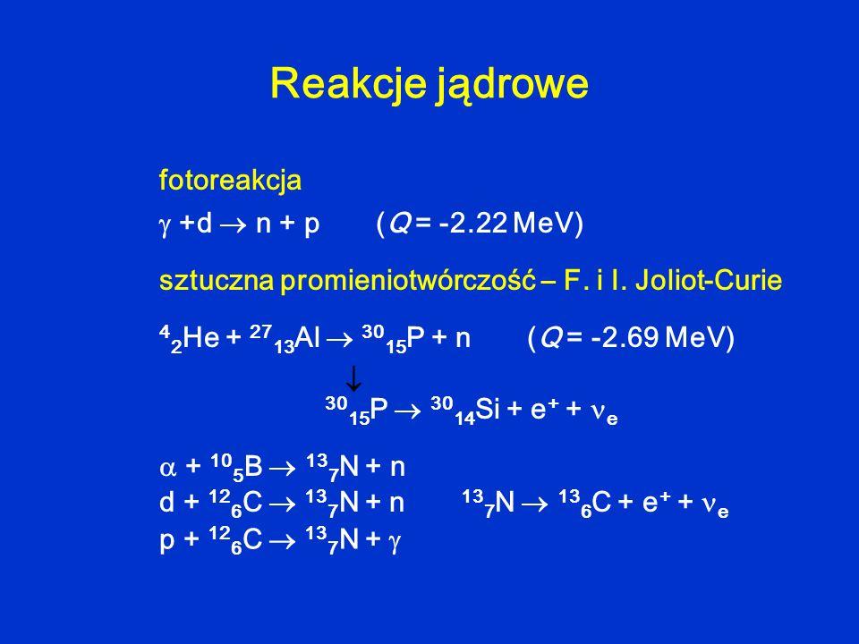 Reakcje jądrowe fotoreakcja  +d  n + p (Q = -2.22 MeV)