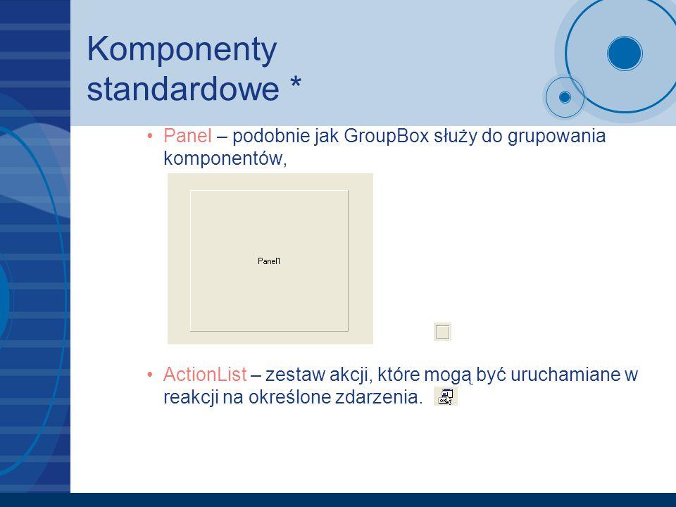 Komponenty standardowe *