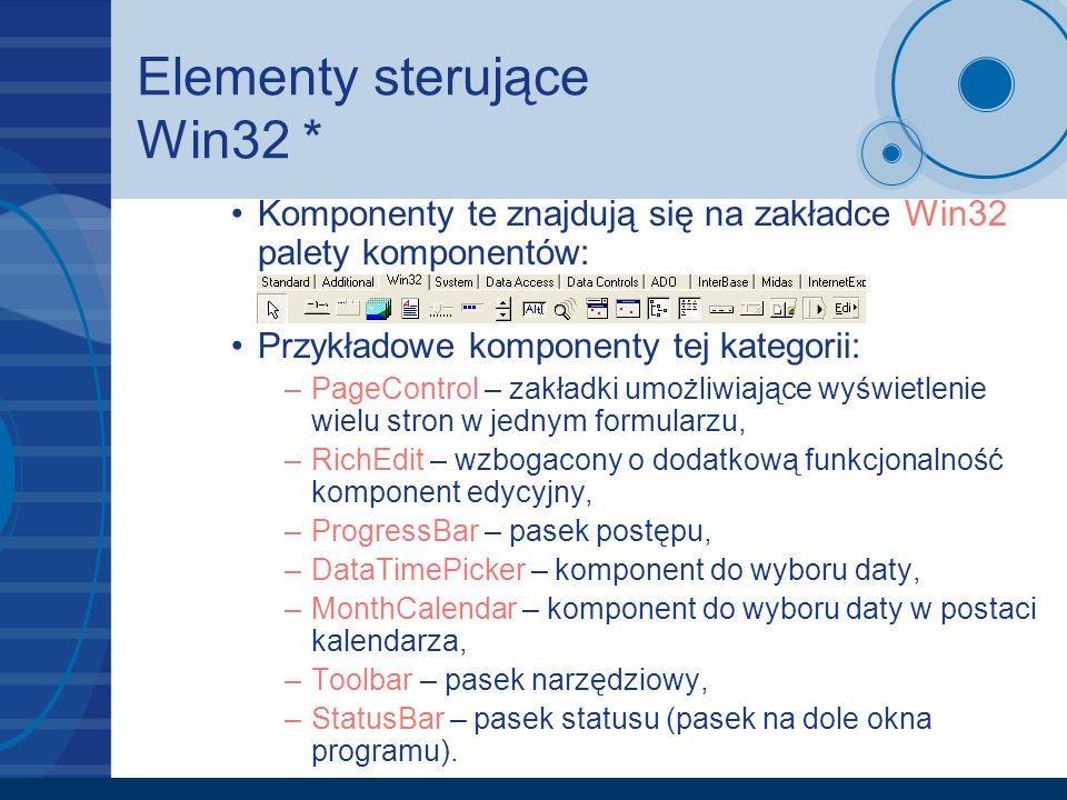 Elementy sterujące Win32 *