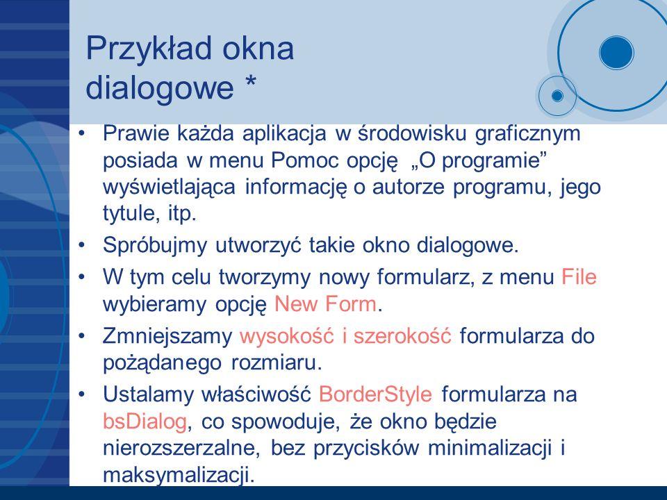 Przykład okna dialogowe *