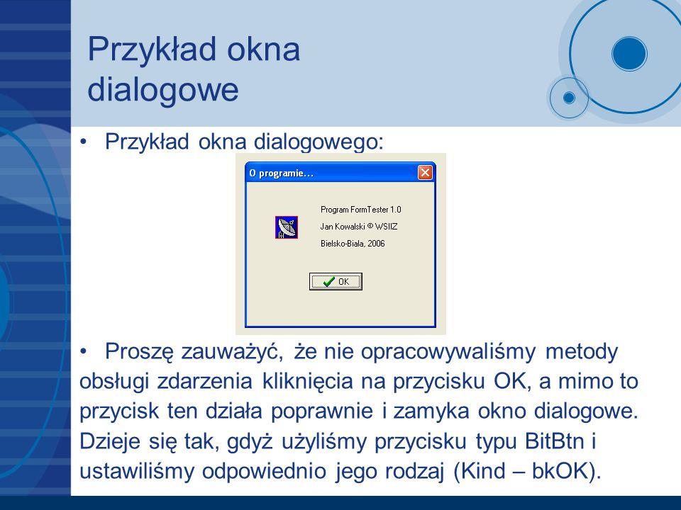 Przykład okna dialogowe