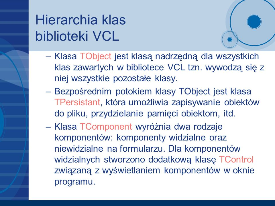 Hierarchia klas biblioteki VCL