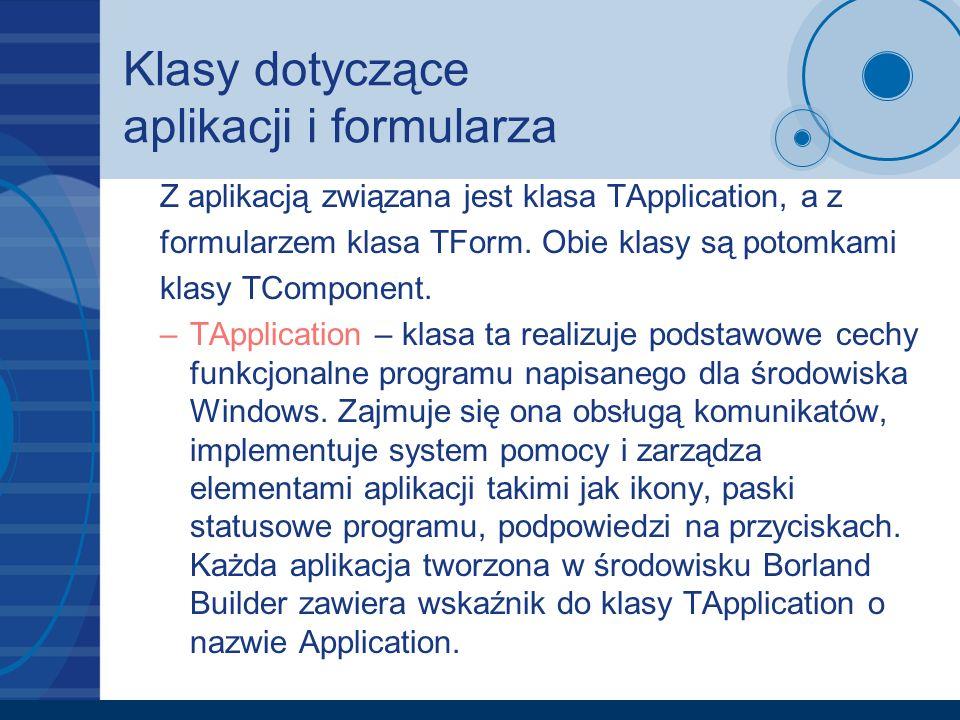 Klasy dotyczące aplikacji i formularza