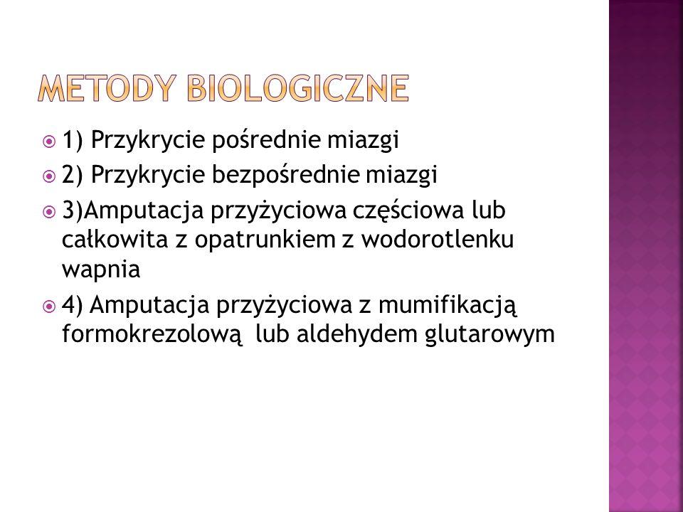 Metody biologiczne 1) Przykrycie pośrednie miazgi
