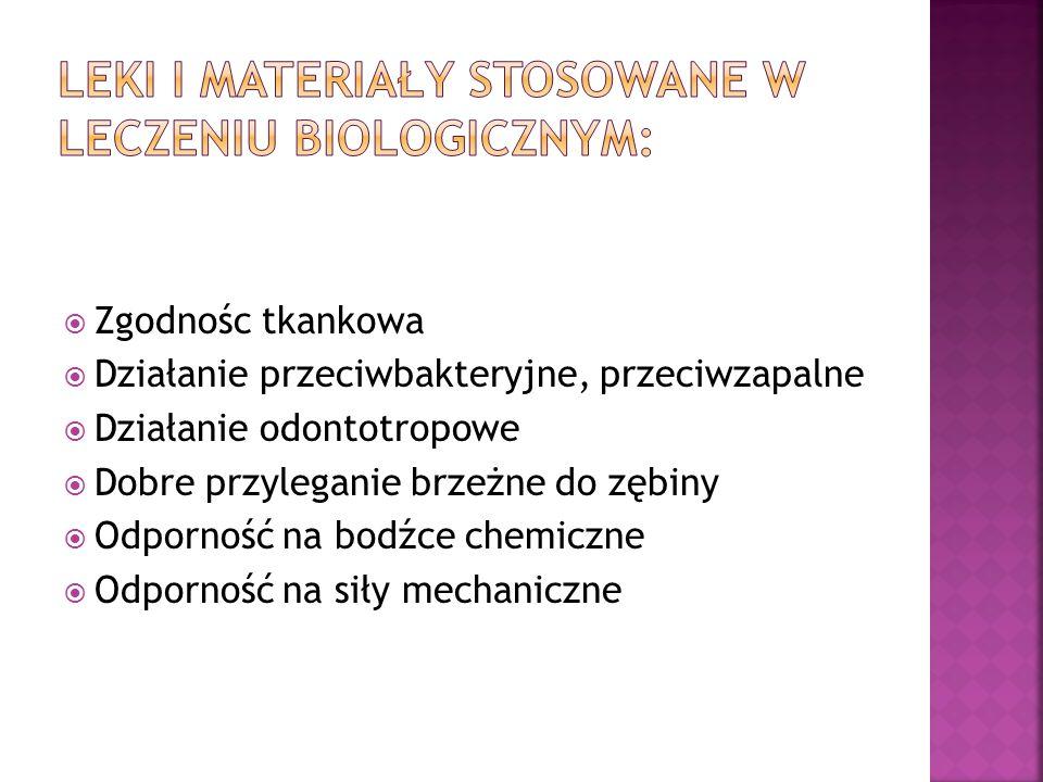 Leki i materiały stosowane w leczeniu biologicznym: