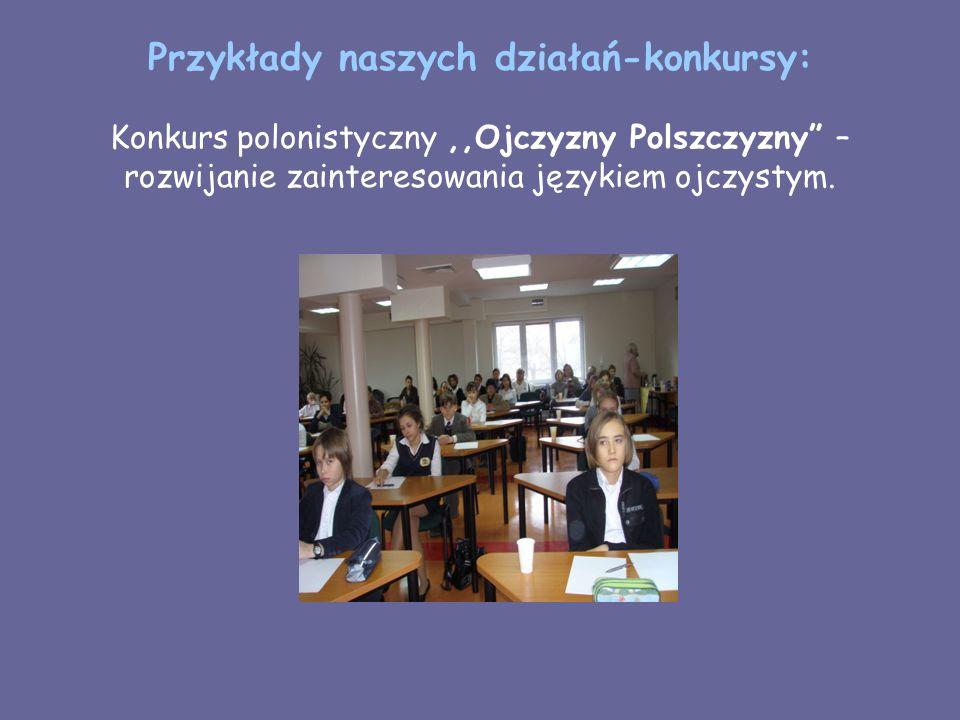 Przykłady naszych działań-konkursy: Konkurs polonistyczny ,,Ojczyzny Polszczyzny – rozwijanie zainteresowania językiem ojczystym.