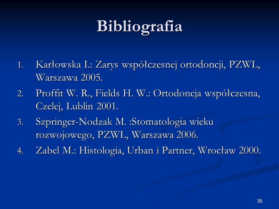 BibliografiaKarłowska I.: Zarys współczesnej ortodoncji, PZWL, Warszawa 2005.