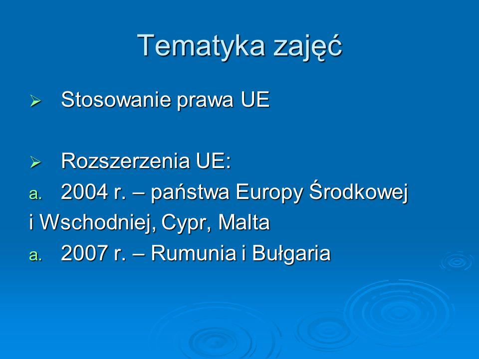 Tematyka zajęć Stosowanie prawa UE Rozszerzenia UE: