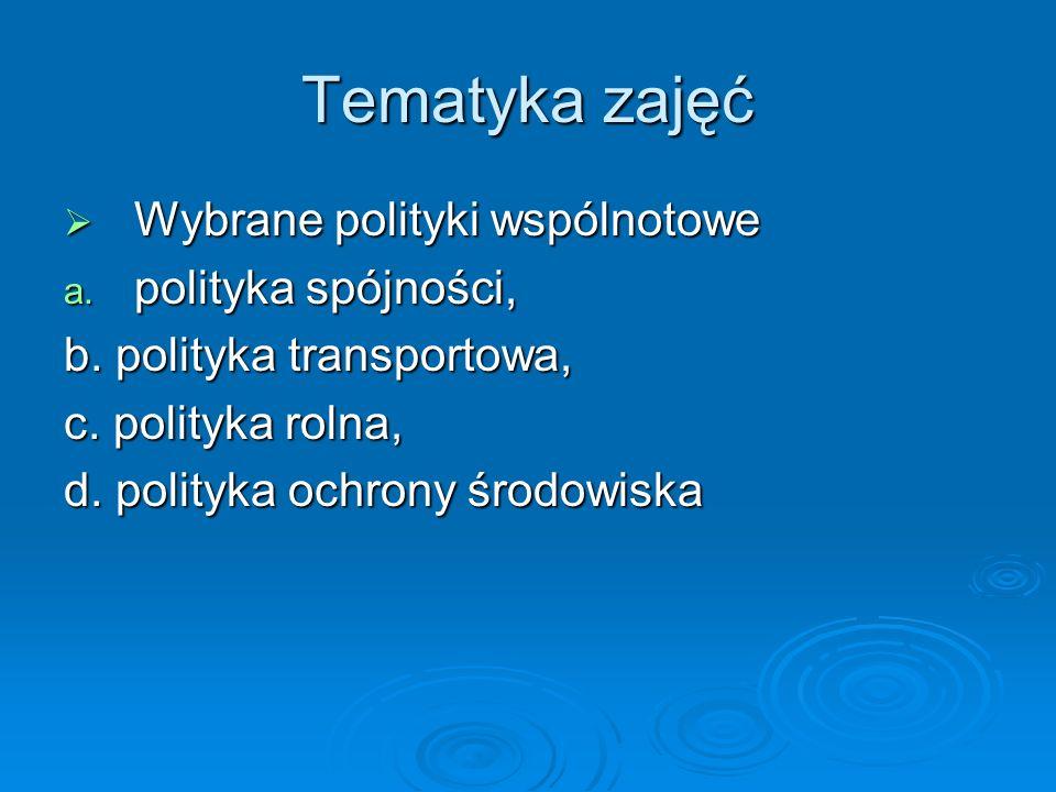 Tematyka zajęć Wybrane polityki wspólnotowe polityka spójności,
