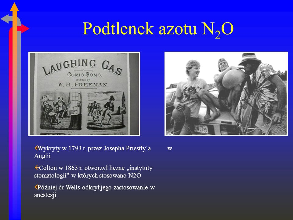 Podtlenek azotu N2O N2O discovered 1793 - Joseph Priestly in Enland. Gardner Quincy Colton (med school dropout) put on exhibitions re N2O.