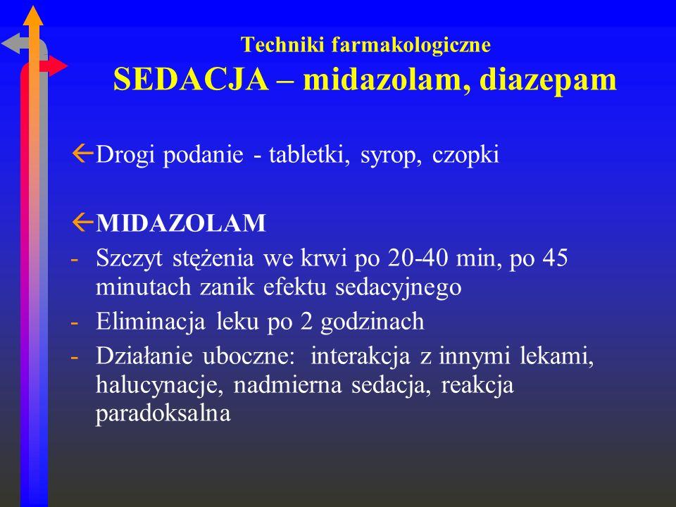 Techniki farmakologiczne SEDACJA – midazolam, diazepam