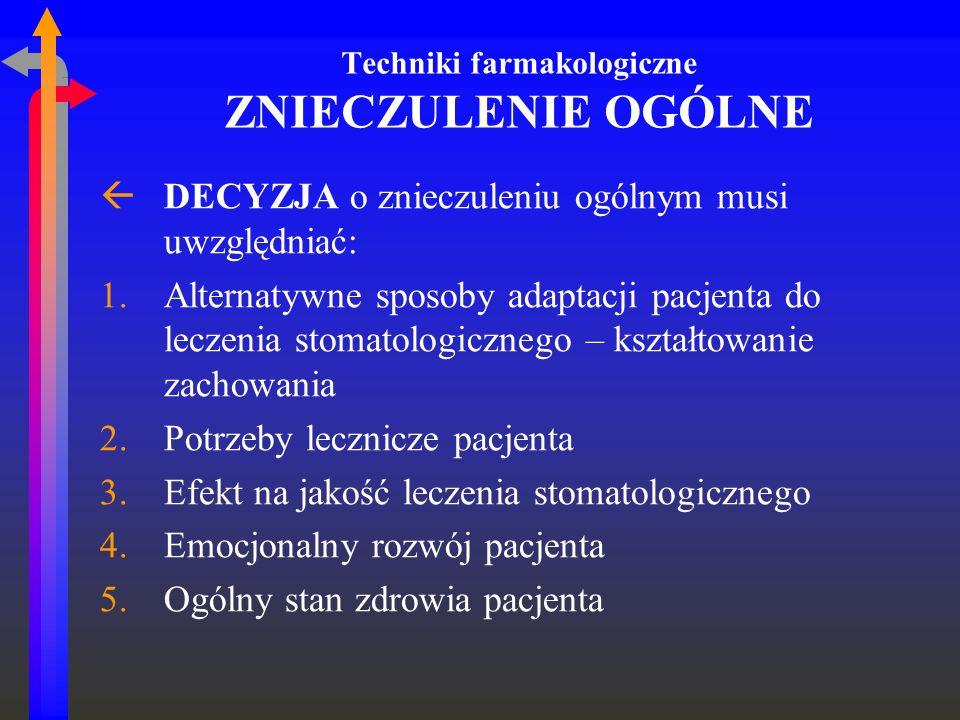 Techniki farmakologiczne ZNIECZULENIE OGÓLNE