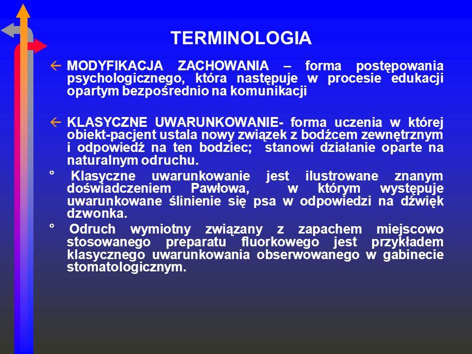 TERMINOLOGIA MODYFIKACJA ZACHOWANIA – forma postępowania psychologicznego, która następuje w procesie edukacji opartym bezpośrednio na komunikacji.
