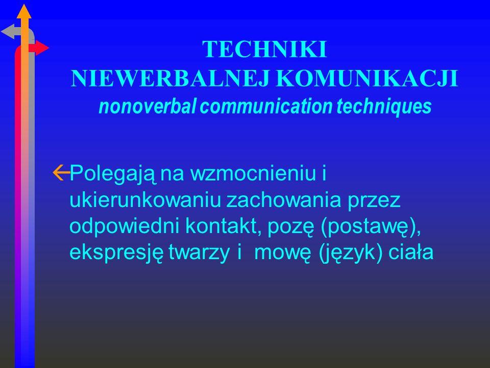 TECHNIKI NIEWERBALNEJ KOMUNIKACJI nonoverbal communication techniques