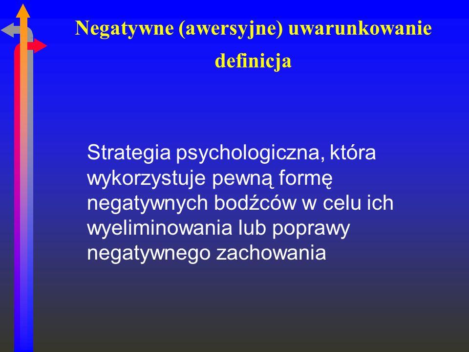 Negatywne (awersyjne) uwarunkowanie definicja