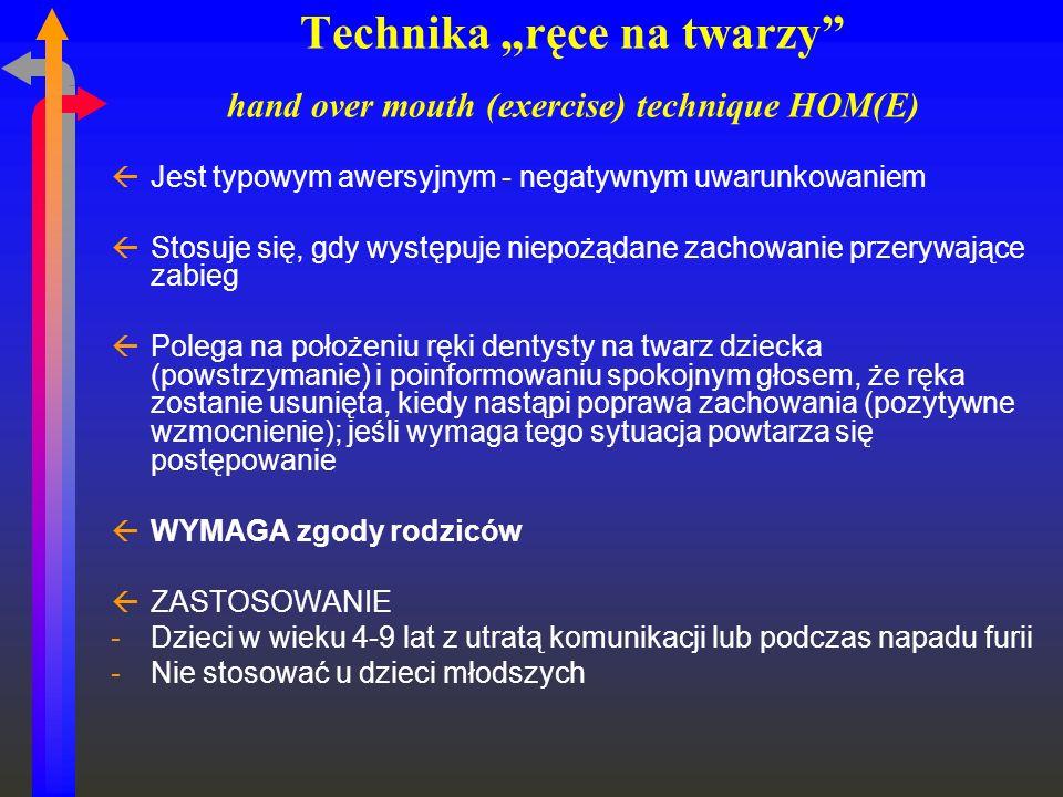 "Technika ""ręce na twarzy hand over mouth (exercise) technique HOM(E)"