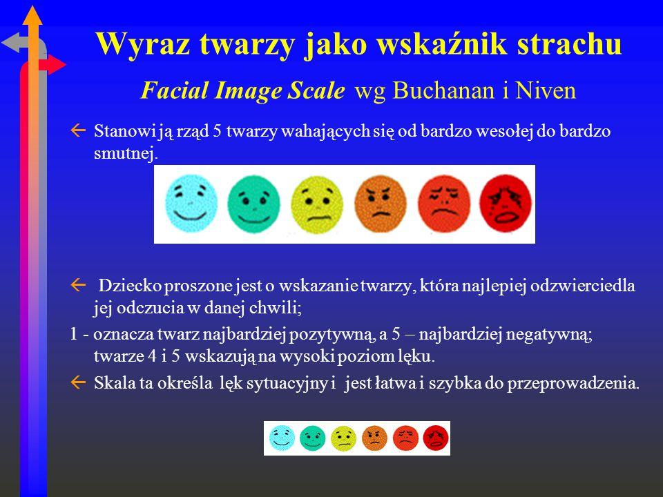 Wyraz twarzy jako wskaźnik strachu Facial Image Scale wg Buchanan i Niven