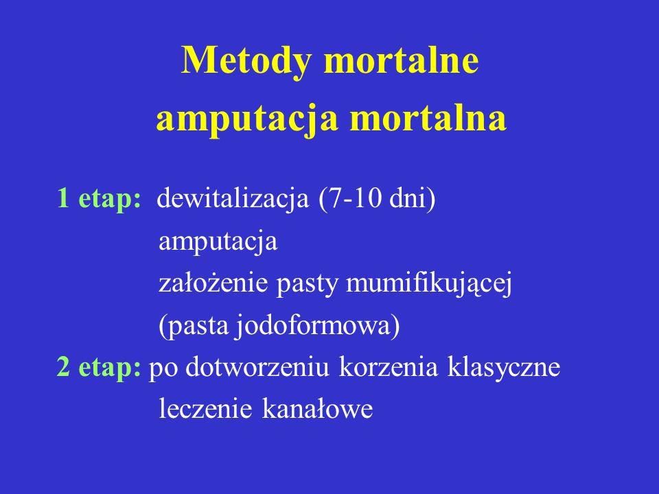 Metody mortalne amputacja mortalna 1 etap: dewitalizacja (7-10 dni)