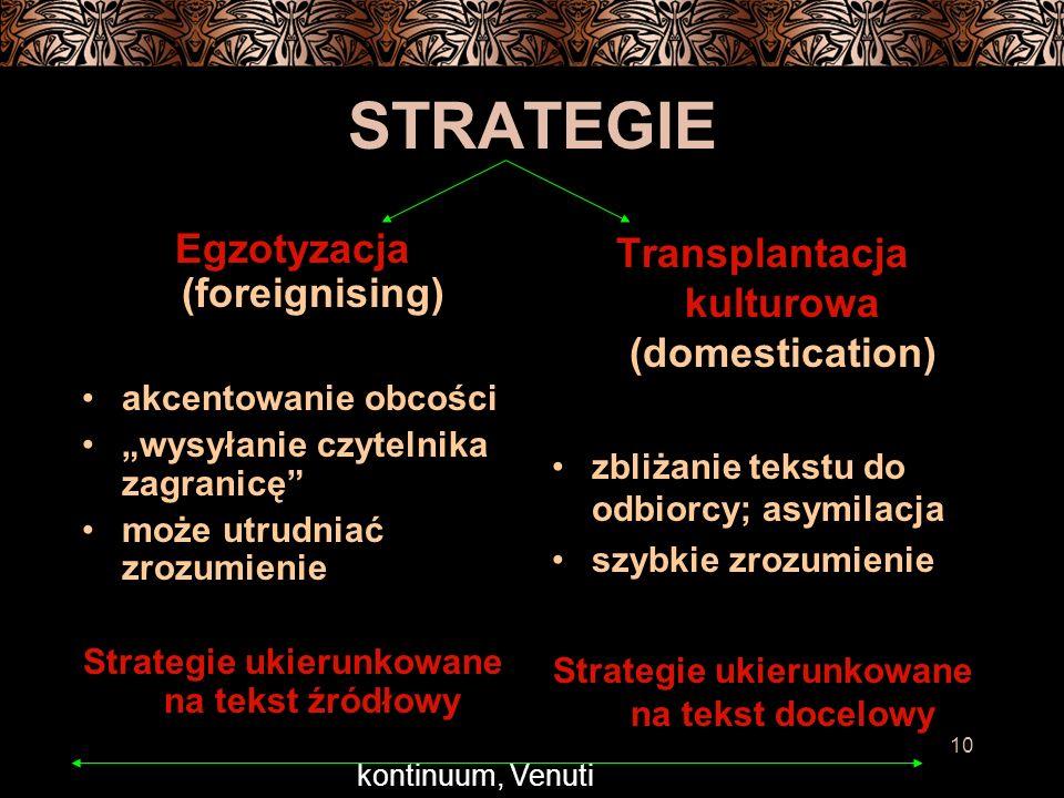 STRATEGIE Egzotyzacja (foreignising)