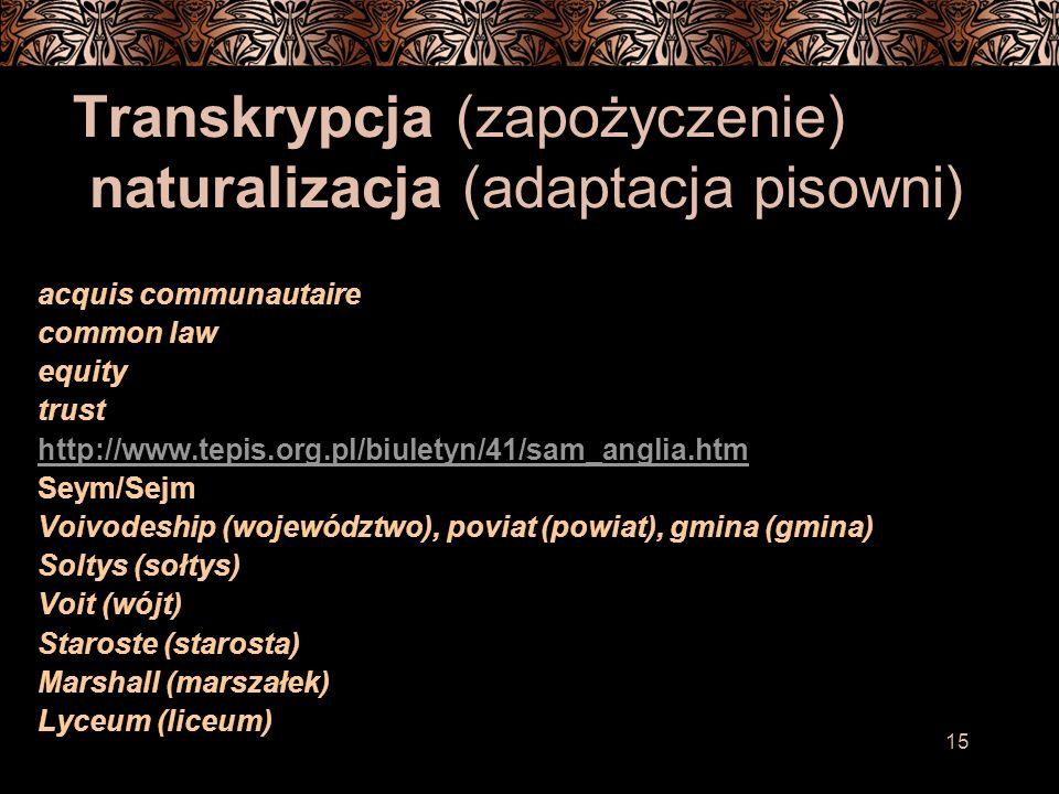 Transkrypcja (zapożyczenie) naturalizacja (adaptacja pisowni)