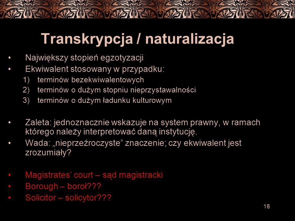 Transkrypcja / naturalizacja