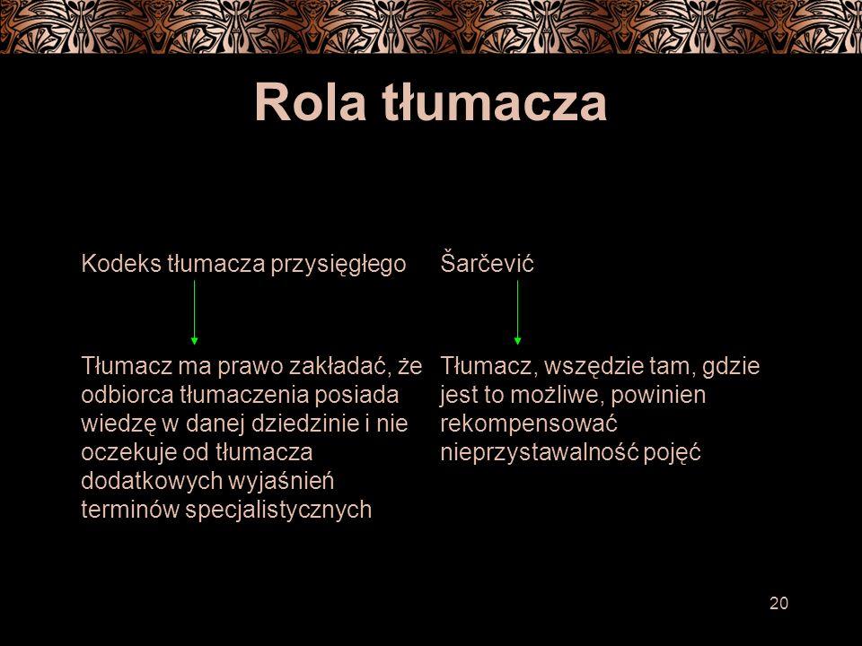 Rola tłumacza Kodeks tłumacza przysięgłego Šarčević