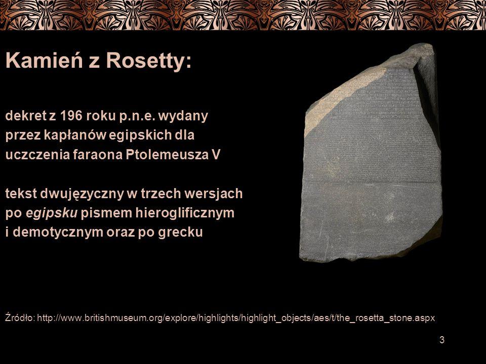Kamień z Rosetty: dekret z 196 roku p.n.e. wydany