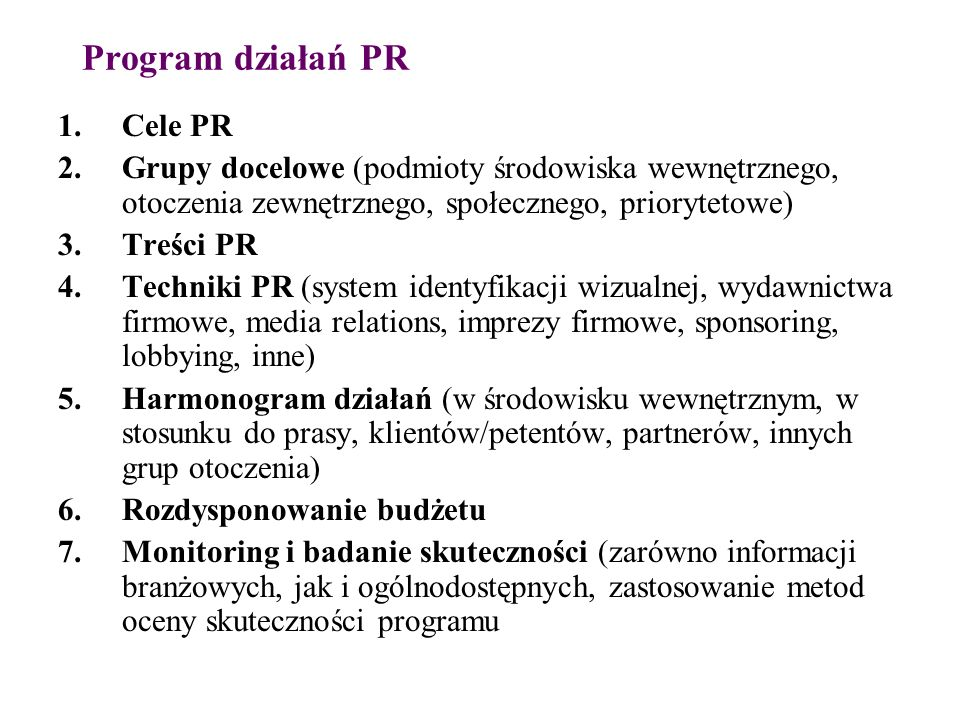 Program działań PR Cele PR