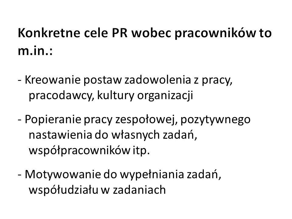 Konkretne cele PR wobec pracowników to m.in.: