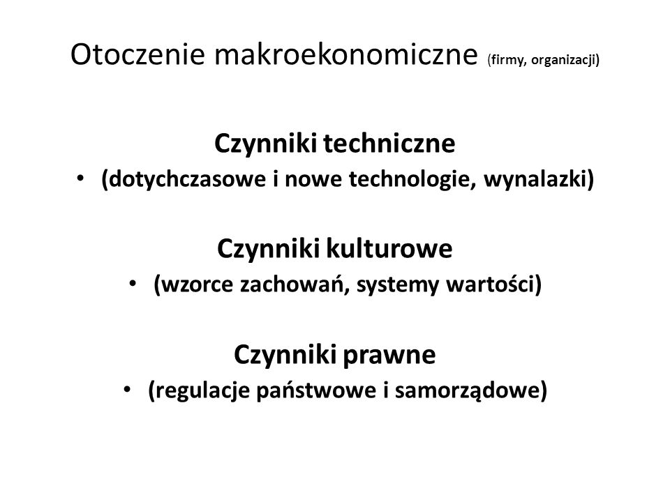 Otoczenie makroekonomiczne (firmy, organizacji)