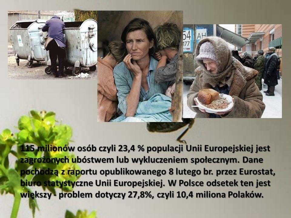 115 milionów osób czyli 23,4 % populacji Unii Europejskiej jest zagrożonych ubóstwem lub wykluczeniem społecznym.