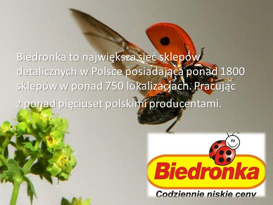 Biedronka to największa sieć sklepów detalicznych w Polsce posiadająca ponad 1800 sklepów w ponad 750 lokalizacjach. Pracując