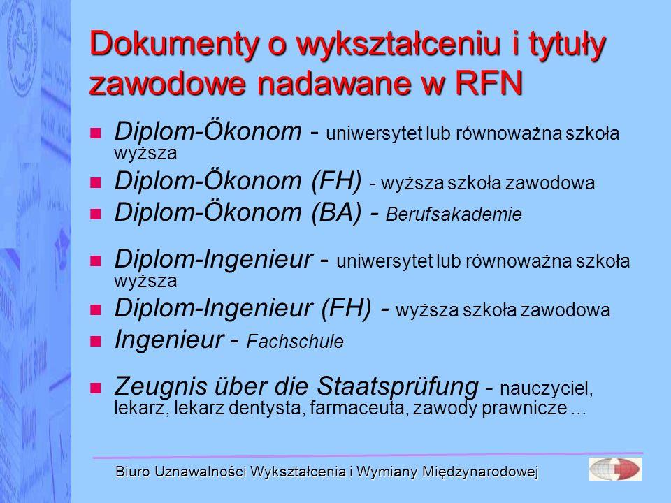 Dokumenty o wykształceniu i tytuły zawodowe nadawane w RFN