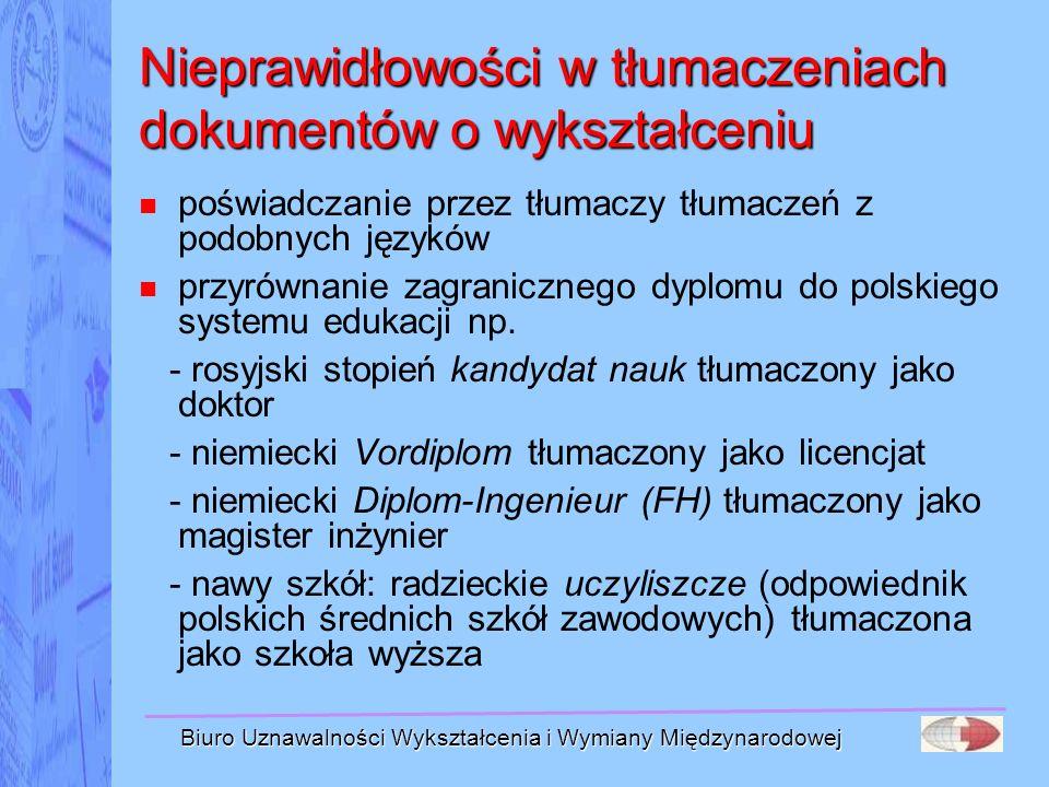 Nieprawidłowości w tłumaczeniach dokumentów o wykształceniu