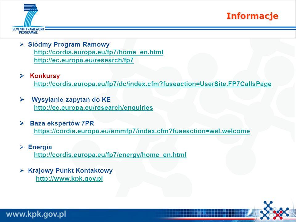 Informacje Siódmy Program Ramowy