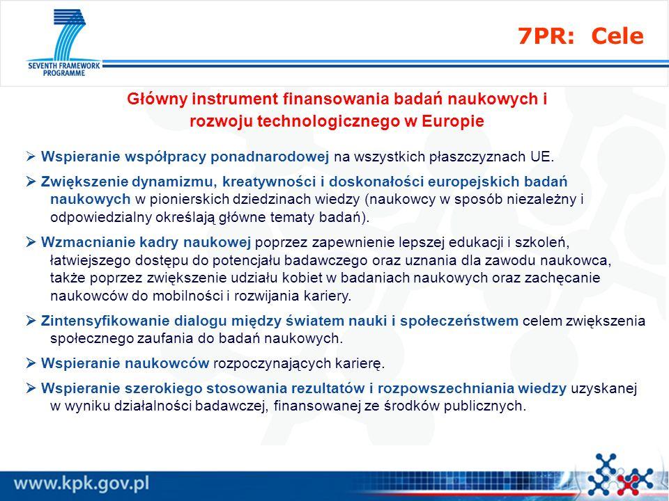 7PR: Cele Główny instrument finansowania badań naukowych i