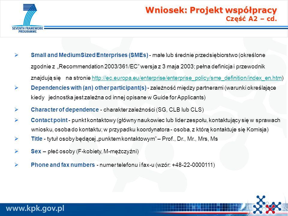 Wniosek: Projekt współpracy Część A2 – cd.