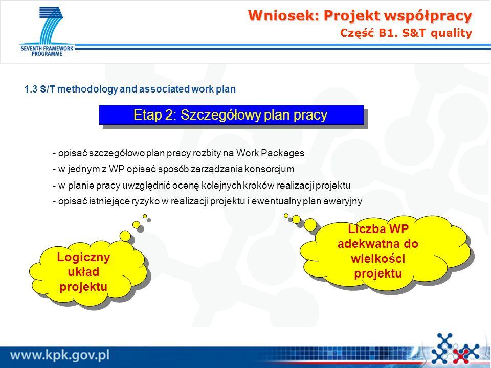 Liczba WP adekwatna do wielkości projektu Logiczny układ projektu
