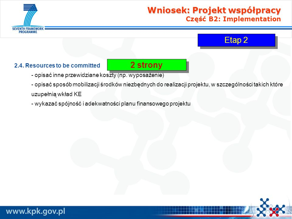 Wniosek: Projekt współpracy Część B2: Implementation