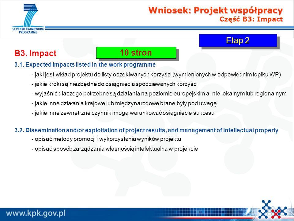 Wniosek: Projekt współpracy Część B3: Impact